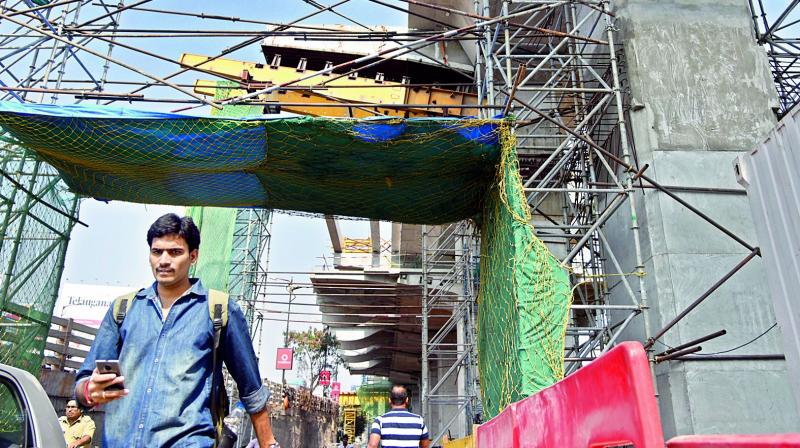 At Begumpet, its a tough walk under Metro works